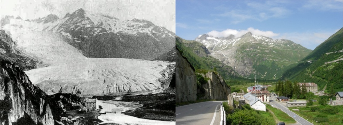 Vergrösserte Ansicht: View from Gletsch (canton of Valais) of the Rhone Glacier in 1855/1856 and 2009